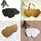 Mimgo Store 100Pcs Kraft Paper Heart-shaped Hang Tags Wedding Party Favor Label Price Cards (White)