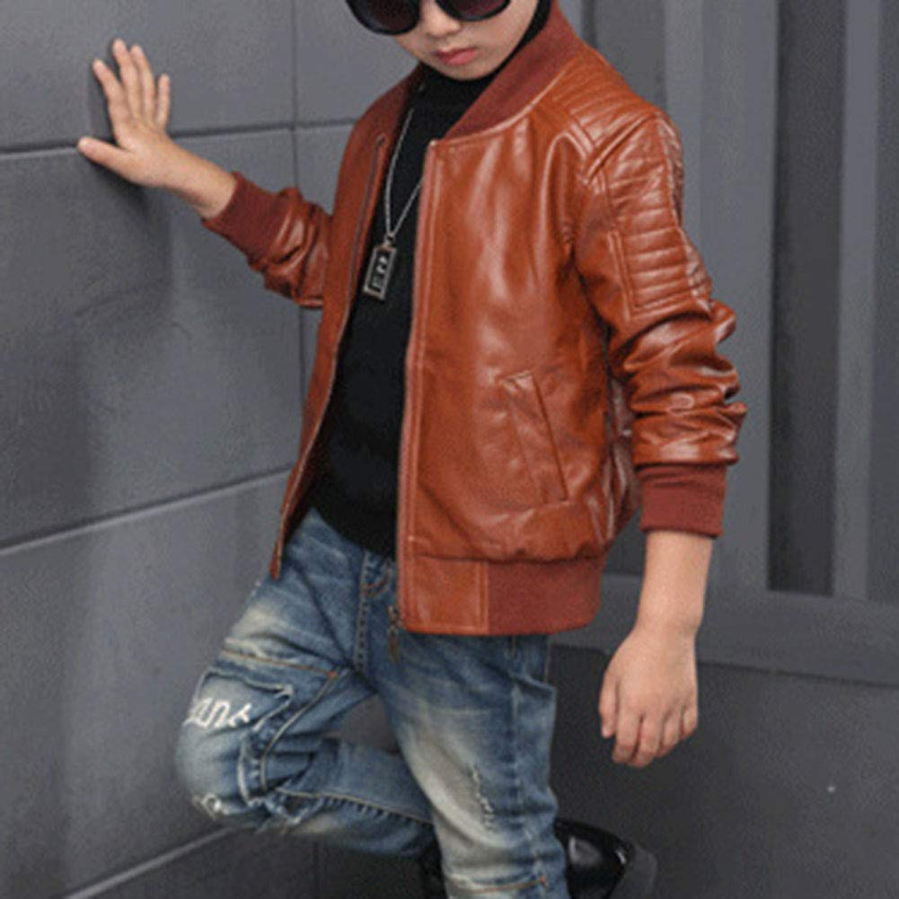 Yonglan Boys Thicken Warm Stand-Collar Pu Leather Moto Casual Jacket Coat
