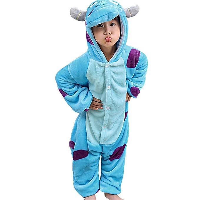 MissFox Kigurumi Pijamas Unisexo Niños Traje Disfraz Niños Animal Pyjamas Sullivan 85: Amazon.es: Ropa y accesorios