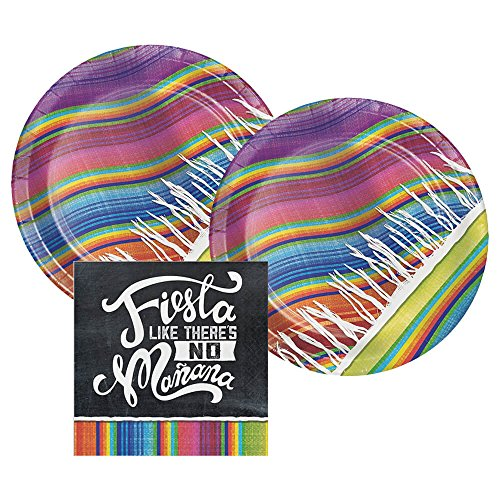 Cinco De Mayo, Taco Tuesday, or Fiesta Serape Blanket Paper Dinner Plates and Paper Napkins, 16 Servings, Bundle- 3 Items