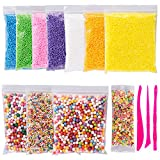 Foam Beads for Slime Colorful Styrofoam Decorative Balls Arts DIY Crafts Supplies For Homemade Slime Arts Crafts 11 Packs Approx 60,000 PCS with Slime Tools and Fruit Slice