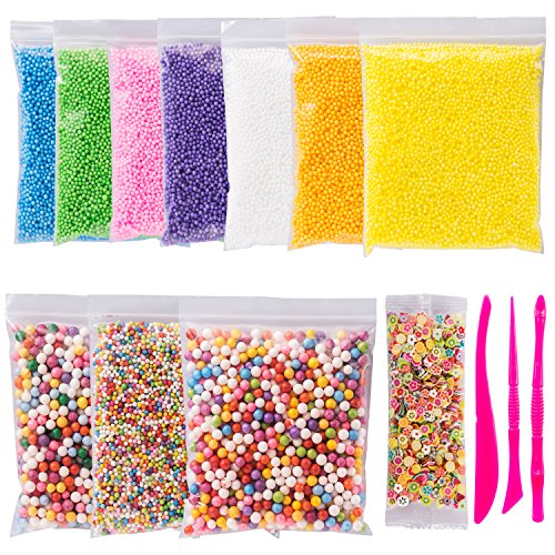 Foam Beads for Slime Colorful Styrofoam Decorative Balls Arts DIY Crafts Supplies For Homemade Slime Arts Crafts 11 Packs Approx 60,000 PCS with Slime Tools and Fruit (Giant Foam Ball)