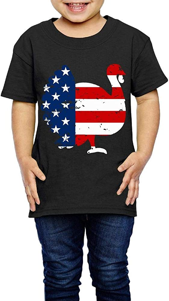 XYMYFC-E Patriotic Turkey American Flag Distressed Thanksgiving 2-6 Years Old Kids Short-Sleeved Tshirts