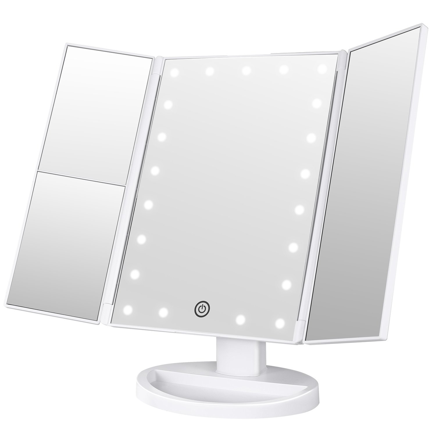 BESTOPE Makeup Vanity Mirror with 21 Led Lights,3x/2x Magnification Led Makeup Mirror with Touch Screen,Dual Power Supply, 180° Adjustable Rotation,Countertop Cosmetic Mirror (White-1)