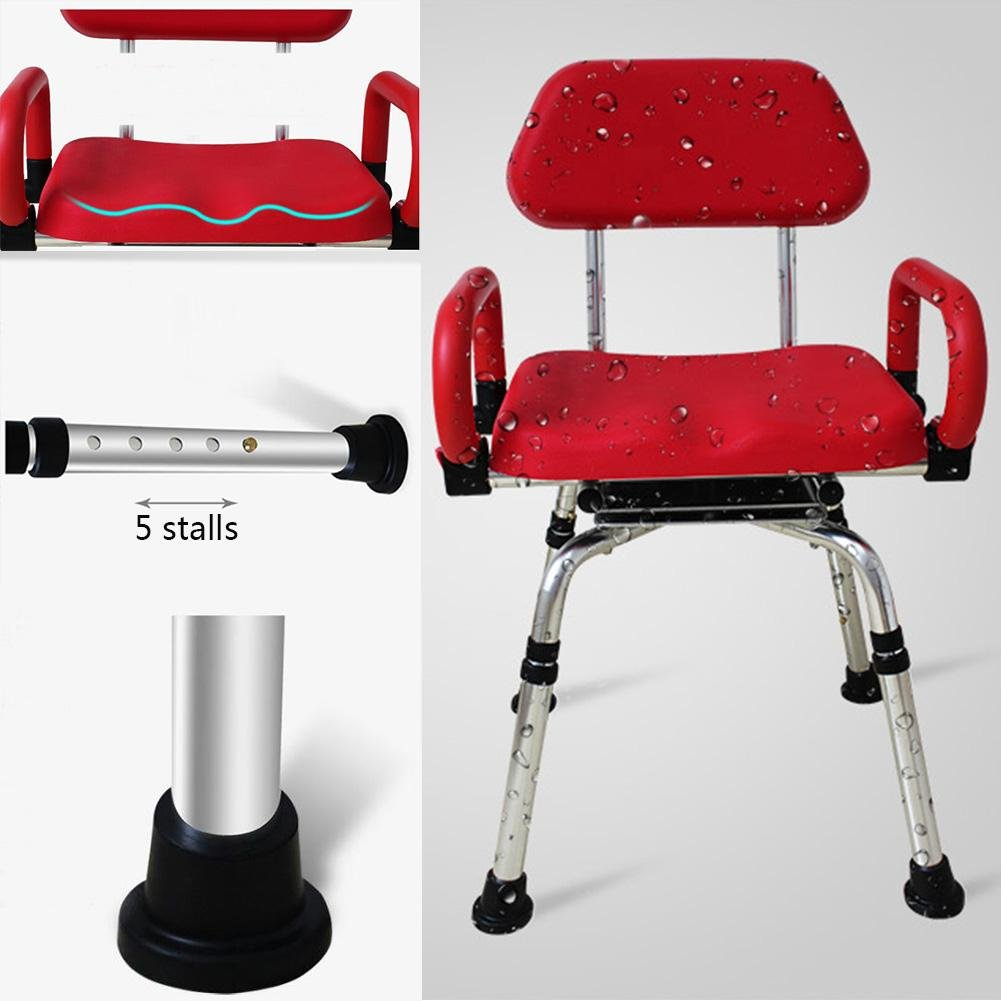 TSAR003 High-End Luxury 360 Degree Rotating Bathroom Chair With Backrest And Handrails, Comfortable Soft Seat, Adjustable Height, Waterproof Anti-Skid, 400 Pounds Load by TSAR003 (Image #9)