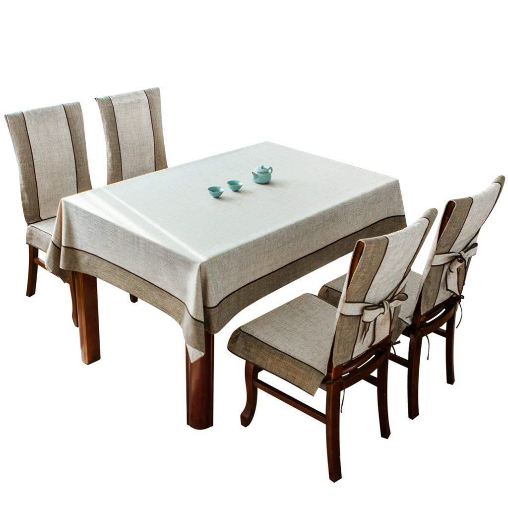 QYM テーブルクロス、コットンと麻の純色長方形のテーブルクロス、牧歌的なテーブルクロス、ホームコーヒーテーブルクロス、宴会、パーティー、オフィステーブルクロス、中国風シンプルスタイル (サイズ : 140x180cm) 140x180cm  B07RTTYMN5