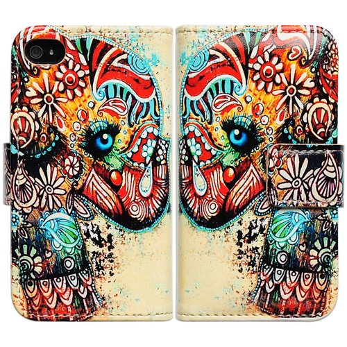 l Floral Elephant Card Slot Wallet Leather Cover Case For iPhone 4 4G 4S AT&T Verizon Sprint ()