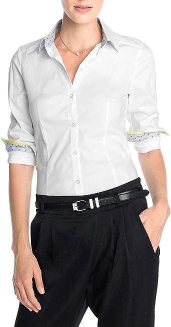 Esprit - Blusa de Manga Larga con Cuello Mao para Mujer, Color Blanco 100, Talla 36: Amazon.es: Ropa y accesorios