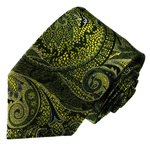 LORENZO CANA - Luxury Italian 100% Silk Tie Black Olivegreen Paisley - 36024 (Mens Ties Italian compare prices)