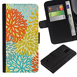 iKiki Tech / Cartera Funda Carcasa - Yellow Orange Teal Flowers Pattern - Samsung Galaxy S5 Mini, SM-G800, NOT S5 REGULAR!
