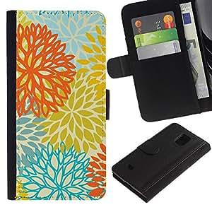 Billetera de Cuero Caso Titular de la tarjeta Carcasa Funda para Samsung Galaxy S5 Mini, SM-G800, NOT S5 REGULAR! / Yellow Orange Teal Flowers Pattern / STRONG