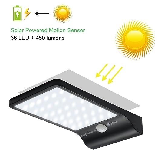 X-DRAGON 36 LED Luz Solar de la lš¢mpara Luz de Sensor de Movimiento Solar Powered: Amazon.es: Electrónica