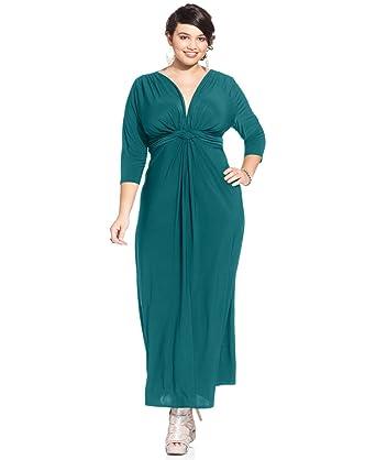 64274fa690 Amazon.com: Love Squared Plus Three-Quarter-Sleeve Knotted Maxi Dress,  Assorted, 2XL: Clothing