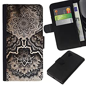 EJOY---La carpeta del tirón la caja de cuero de alta calidad de la PU Caso protector / LG Nexus 5 D820 D821 / --Arte Dibujo Tinta Negro Blanco
