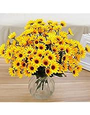 Lsgepavilion 1 bukiet 15 główek symulacja słonecznika sztuczny jedwab kwiat dom przyjęcie stół dekoracja żółty