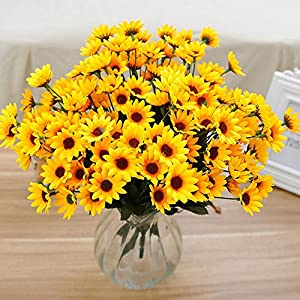 narutosak Artificial Flowers 1 Bouquet 15 Heads 7 Branches Faux Silk Sunflower Home Party Decor - Yellow 87