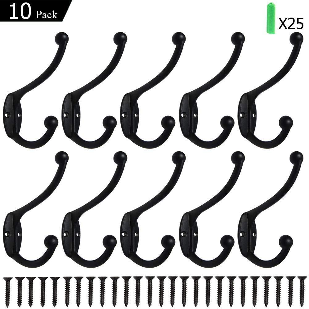 Coat Hooks 10 Pack Wall Mounted Hooks Metal Hooks Dual Robe Hook Rustic Hooks Retro Double Hooks Coat Hanger and Screws for Coat/Backpack/Bag/Towel/Key/Cap (Black)