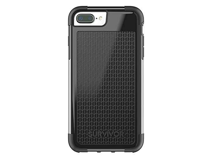 best loved 4f21d 8ae14 Griffin Survivor Fit iPhone 8 Plus Case with Dual Layer and Shock Absorbing  Protection, Black/Black