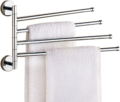 2-4-Swivel Bar Stainless Steel Towel Rack Bar Wall Mounted Holder Bathroom Shelf