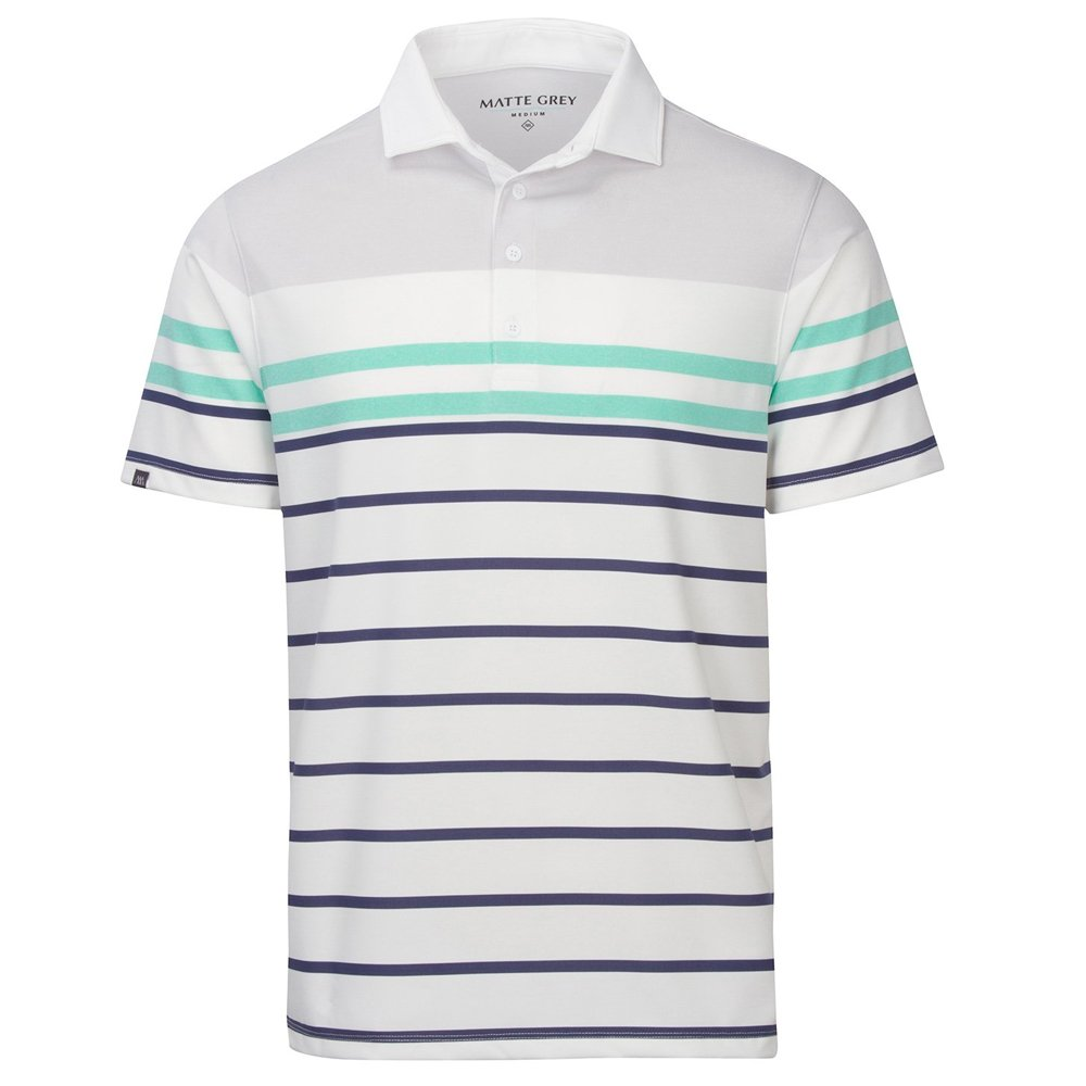Haus Of Grey Mens Big Russ Stripe Short Sleeve Polo White//Blue L