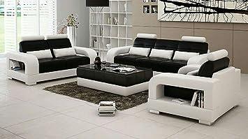 Quality Assure Spanish White Black 6 Seater Leatherite Sofa Set