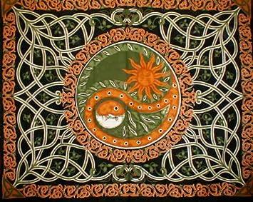 Celtic Celestial Yin Yang Tapestry Coverlet Home Decor