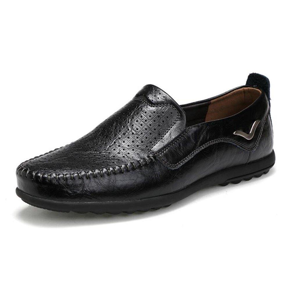 CAI Große Leder-Müßiggänger der Männer 2018 Frühlings- / Sommer- / Fall-Geschäft Peas Schuhes/Breathable Faule Schuhe/fahrende zufällige Schuhe (Farbe : Schwarz, Größe : 41)