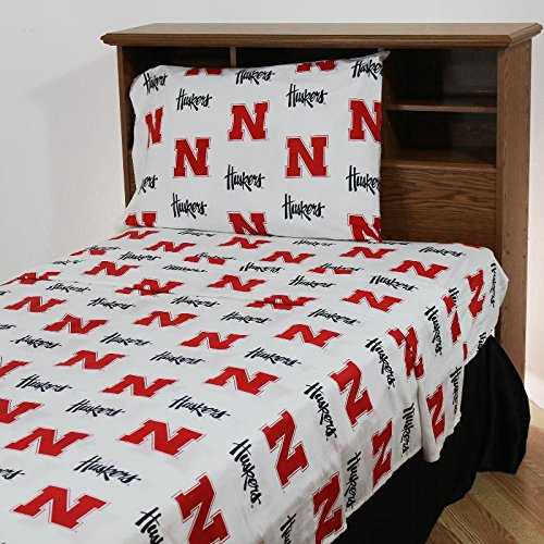College Covers Nebraska Cornhuskers Printed Sheet Set - Twin - White by College Covers