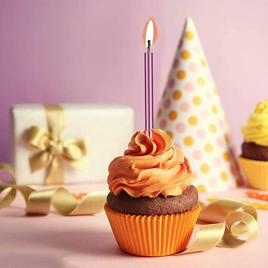 LUTER Velas metálicas de cumpleaños en titulares Rosa de Oro Velas Altas de Pastel de cumpleaños Velas de Cupcake largas y Delgadas para la decoración ...