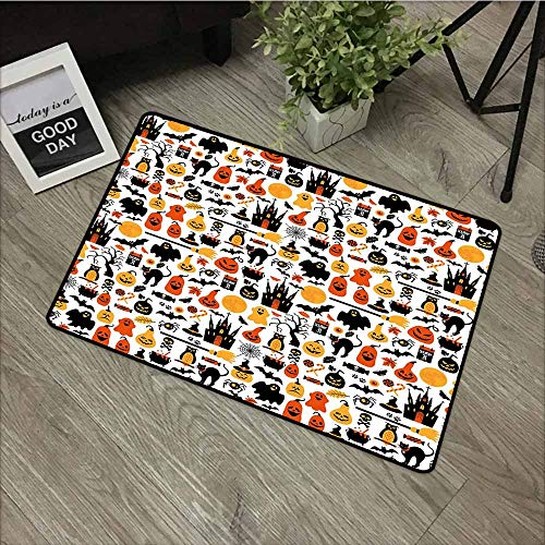LOVEEO Funny Doormat,Halloween Halloween Icons Collection Candies Owls Castles Ghosts October 31 Theme,Easy Clean Rugs,29