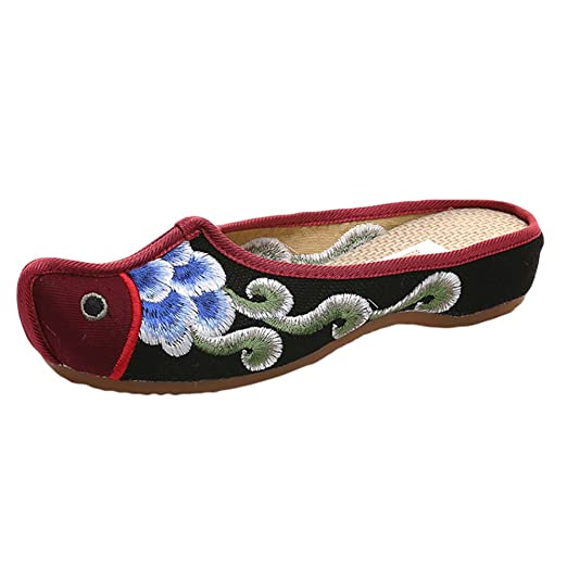 32bf6b5de68 Image Unavailable. Image not available for. Color  ZTL Chinese Embroidered  Slippers Flat Shoes Women Backless Slip On Mule Flats