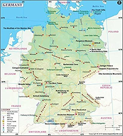 Map Of Germany Major Cities.Amazon Com Germany Map 36 W X 39 75 H Office Products