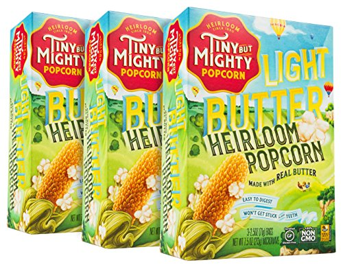 Tiny But Mighty Light Butter Heirloom Popcorn, for the Microwave, Pack of 3 (Flavor Butter Light)