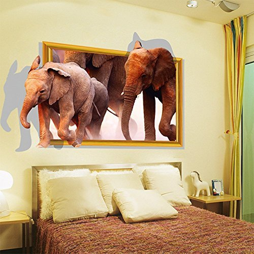 Fange DIY Removable 3d Photo Frame Style Of African Elephants Art Mural  Vinyl Waterproof Wall Stickers Living Room Decor Bedroom Decal Sticker  35.4u0027u0027x23.6u0027u0027