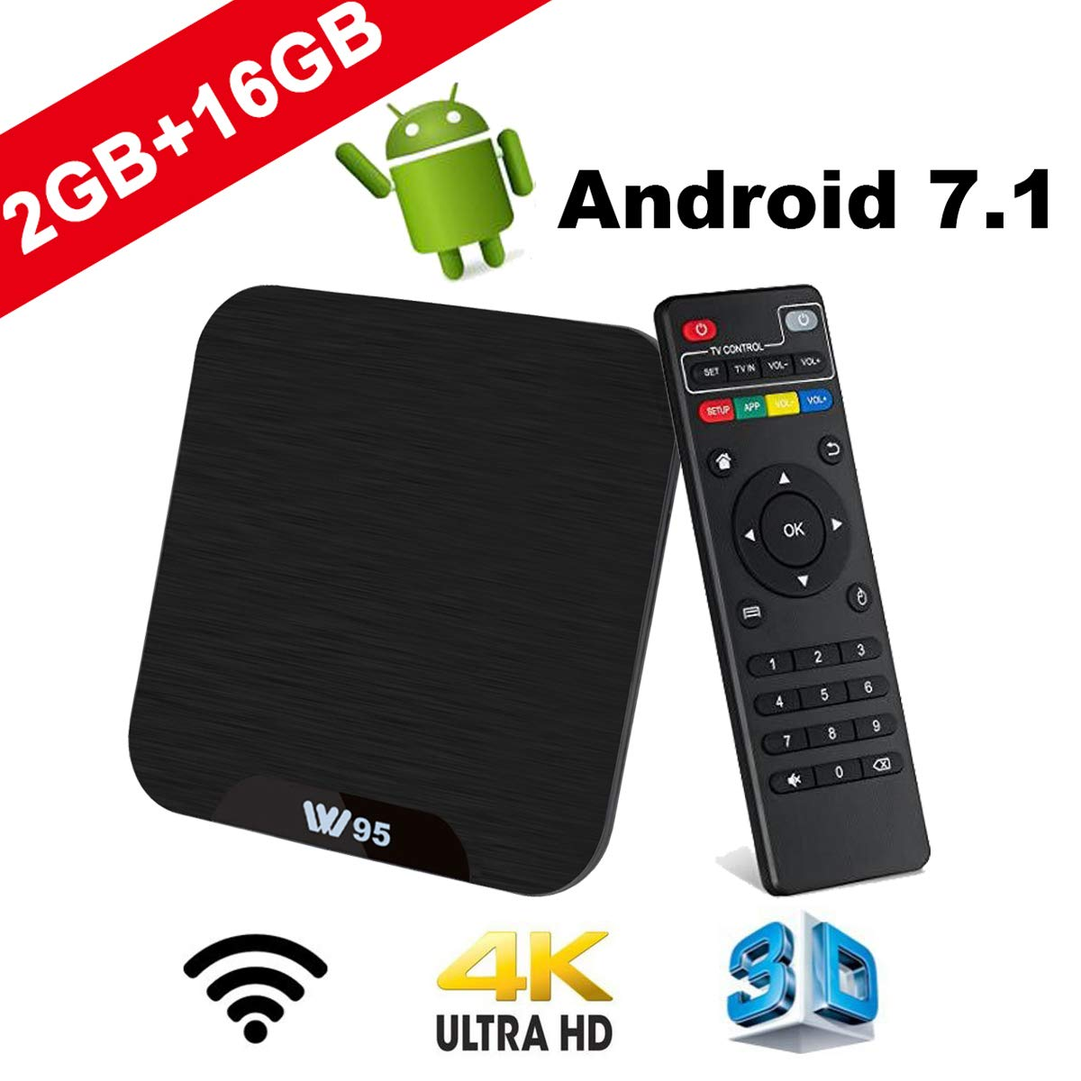 Android 7.1 Smart TV Box - Viden W95 Newest Android TV Box with Amlogic 64Bits Quad-Core, 2GB+16GB, Built-in Wi-Fi, HDMI Output, USB*2, 4K UHD Web TV Box