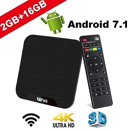 TV Box Android 7.1 - VIDEN W2 Smart TV Box Amlogic S905X Quad Core, 2GB RAM & 16GB ROM, 4K*2K UHD H.265, HDMI, USB*2, WiFi Media Player, Android Set-Top Box ...