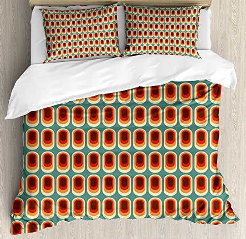Vintage Retro Fashion (Ambesonne Retro Duvet Cover Set, Vintage Background in Ethno Fashion Colors Abstract Rounded Continuous Shapes Print, Decorative 3 Piece Bedding Set with 2 Pillow Shams, King Size, Brown Orange)
