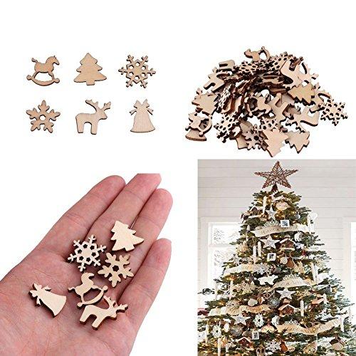 preliked 50Pcs Xmas Tree Wood Chip Rocking Horse Natural Reindeer Snowflake Hanging Decor