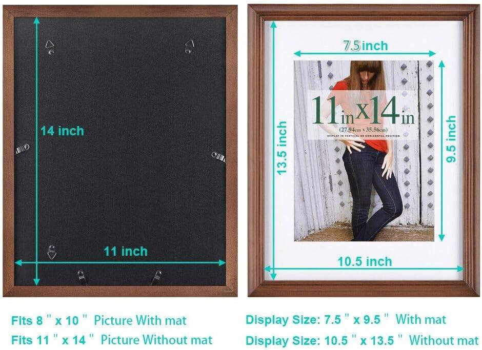 """Plat 11/""""x14/"""" Gris Mural Cadre affichage avec double Blanc mat pour 8x10 photo Gray"""
