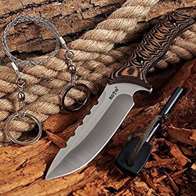 Hunting Tactical Fixed Blade Knife - Survival Bushcraft Knife with Set Fire Starter, Wire Saw - Big Dependable Sharp and Serrated Blade Knife for Outdoor, EDC & Self Defense - Grand Way - HK 975