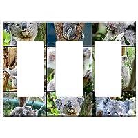 Switch Plate Triple Rocker/GFCI - Koala Bear Collage Tree Sitting Perched Portrait
