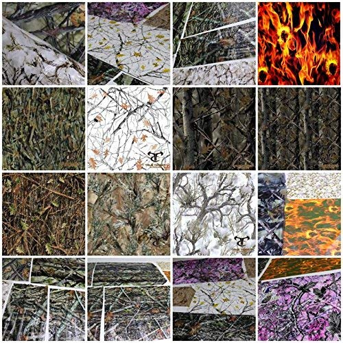 (Hydrographic Film 6+ Samples Pack 2m 20' Sq Ft True Timber Camo Flames Skulls Scraps Hydro Graphics Film Dip Kit )