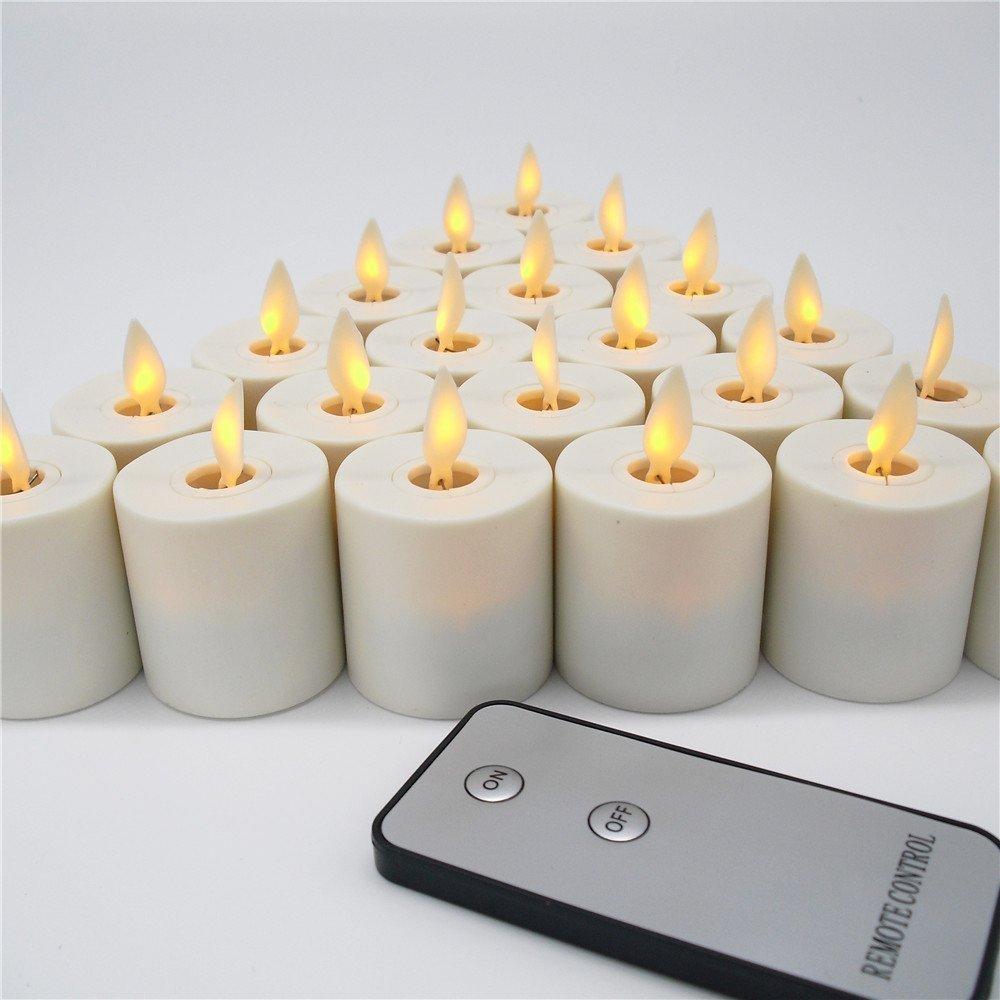 Wiederaufladbar 12 LED Kerze Lampe System mit Fernbedienung Controller, Bernstein Farbe