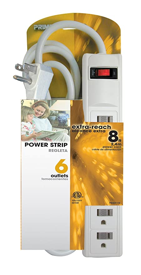Amazon.com: Prime Wire & Cable PB801115 6-Outlet White Power Strip ...