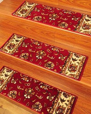 "NaturalAreaRugs Stellar Carpet Stair Treads, 9"" x 29"" (Set of 13) w/ Landing Mat, Peel & Stick Strips Included"