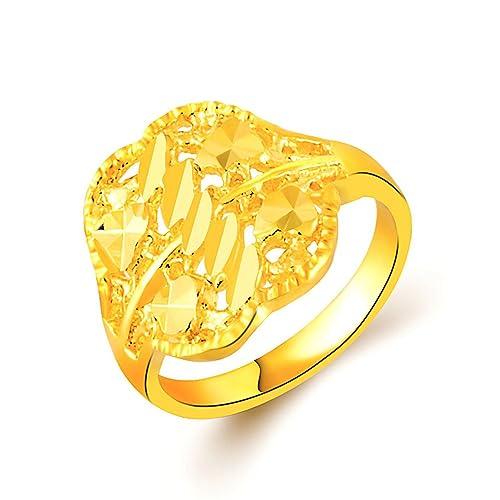 YLR Fashion Jewelry - Anillo para mujer, chapado en oro de 24 quilates, diseño de hojas de loto: Amazon.es: Joyería