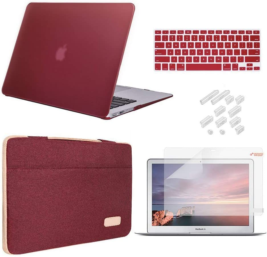 iCasso MacBook Pro 15 Inch Case 2019 2018 2017 2016 Release Model A1990/A1707 Bundle 5 in 1, Hard Plastic Case, Sleeve, Screen Protector, Keyboard Cover&Dust Plug Compatible MacBook Pro 15 - Wine Red