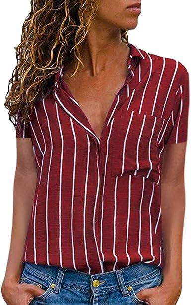 STRIR Mujer Blusa Cuello En V Camiseta de Mangas Corta Camisa ...