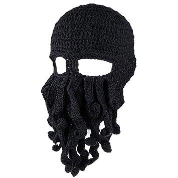 be019587314 QHGstore Winter Unisex Tentacle Octopus Knit Beanie Hat Cap Wind Ski Mask  Black