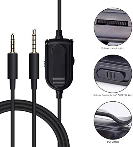 Alitutumao Replacement Astro A10 Cord Inline Mute Astro A40 Cord A50 Aux Cable with Volume Control and Mic Compatible with Astro A10 A40 A30 A50 Headsets to PS4 PC Gaming Mobile MixAmp